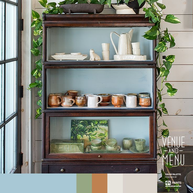 Blue Shelves - Showcase your collection of ceramics in a reclaimed piece of furniture which you had freshen up by painting the interior with a coat of the perfect blue.