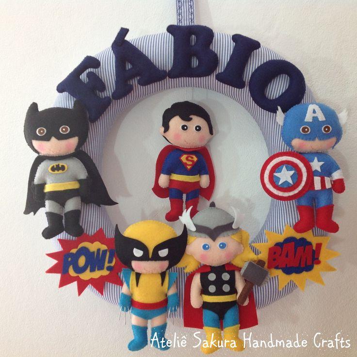 Guirlanda Porta de Maternidade tema Super Heróis para o Fábio