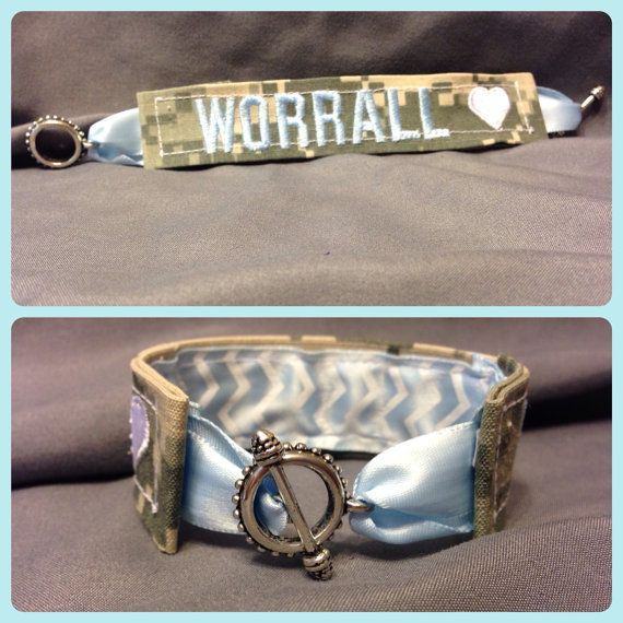 Army ACU Name Tape Bracelet- w/ Heart!! (Any branch!) on Etsy, $18.50