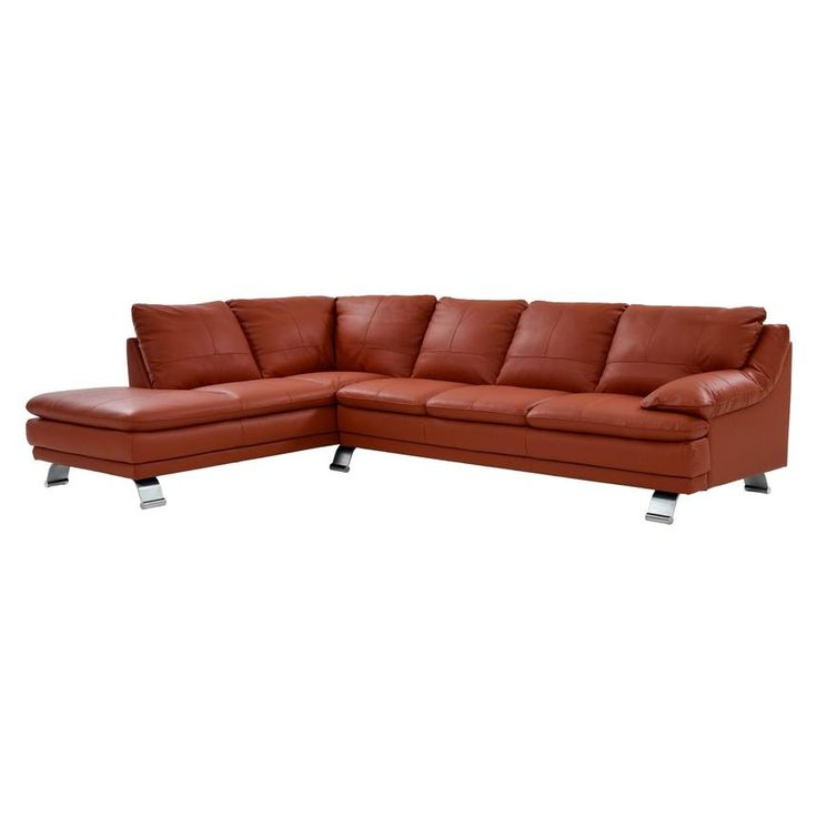 The Rio Orange Leather Sofa W/Left Chaise Accentuates Your Living Room With  Contemporary Style