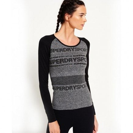Women's Superdry Gym Seamless Long Sleeve, Grey