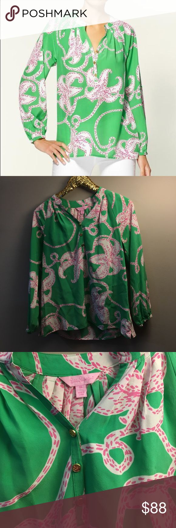 Lilly Pulitzer Elsa Top EUC The Lilly Pulitzer® Elsa Top is like no other. Printed blouse in fluid silk crepe de chine. Loose fit. Elastic smocking encircles the flat collar. Shirring falls from the smocked inset. Split neck and three-button placket. Gold-tone logo buttons. Gathered cuff on the long blouson sleeves. Side vents. Pullover design. 100% silk. Lilly Pulitzer Tops Blouses