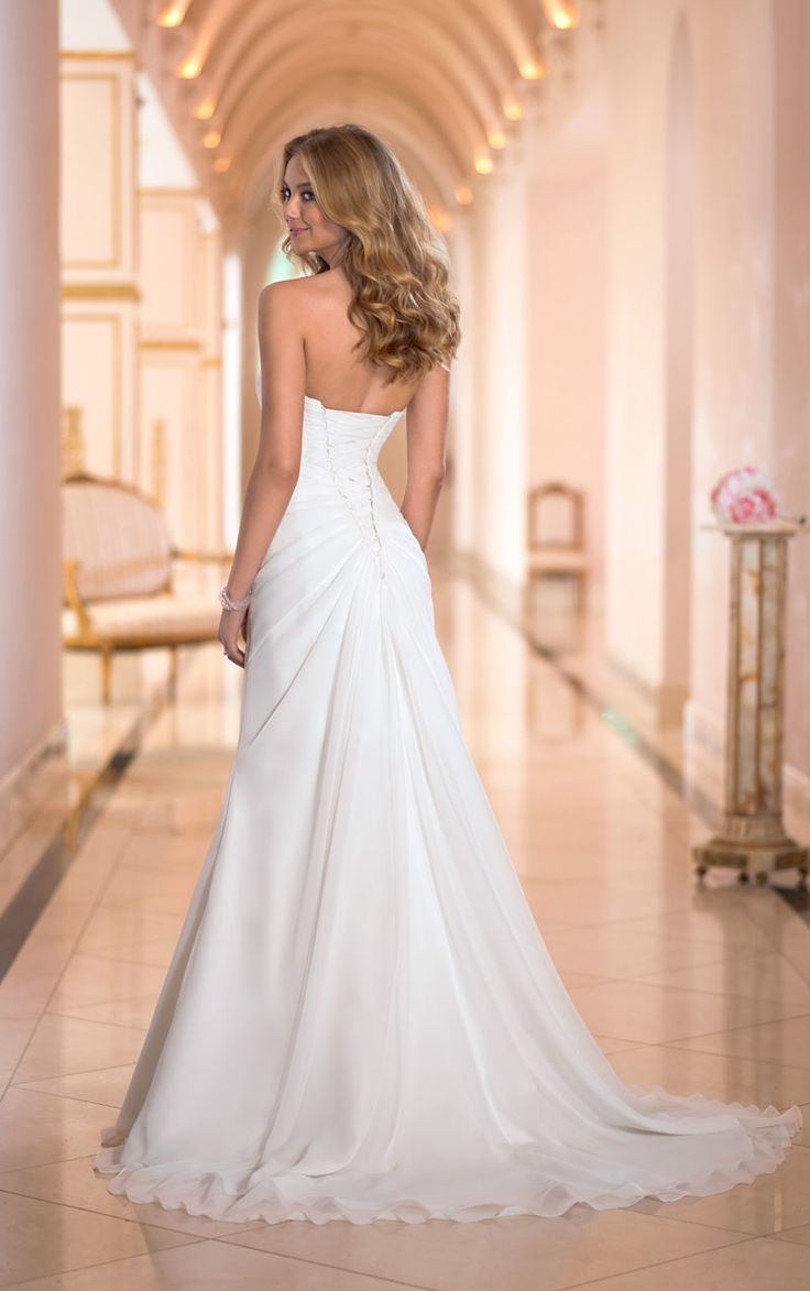 slim a line trend chiffon strapless sweetheart wedding dress