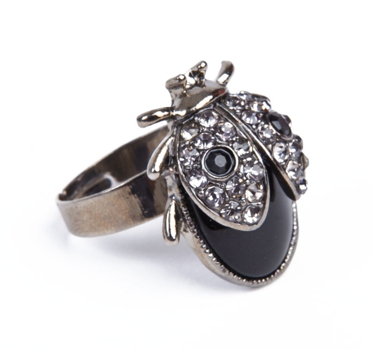 STONE DECORATED BEETLE RING