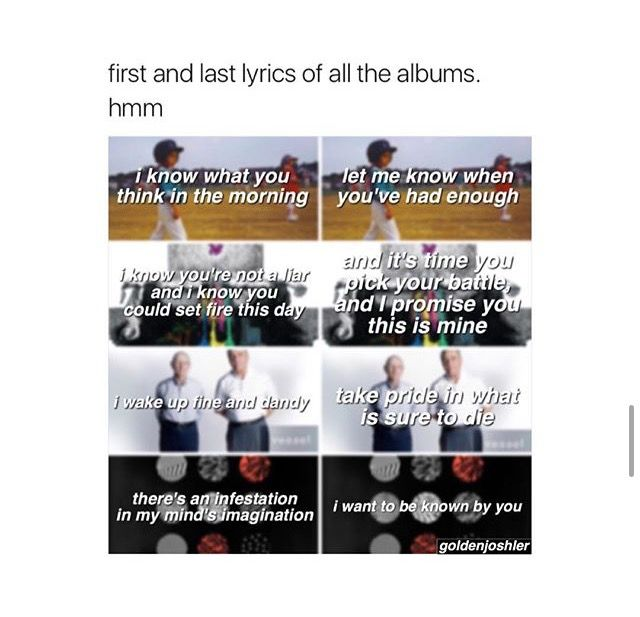 First and last lines in all their albums. They are so beautiful.