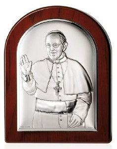 Srebrny obrazek Papież Franciszek, stanowi doskonały prezent dla dziecka z okazji I Komunii Świętej. #chrzest #bierzmowanie #slub