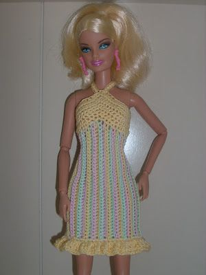 free crochet pattern for Barbie (the belly button body type): Striped Sherbet Sundress