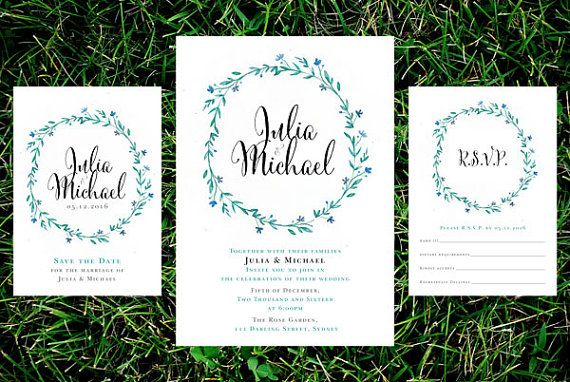 Blue Flowers and Vines Wedding Invitation Suite – Printable