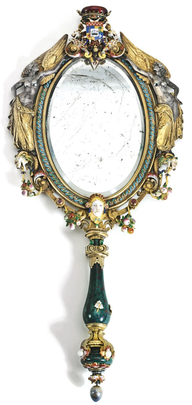 Paris vanity mirror - A Parcel Gilt Silver Enamelled Gold And Hardstone Hand Mirror Louis Philibert Audouard For Froment Meurice Paris Circa 1856 Sold