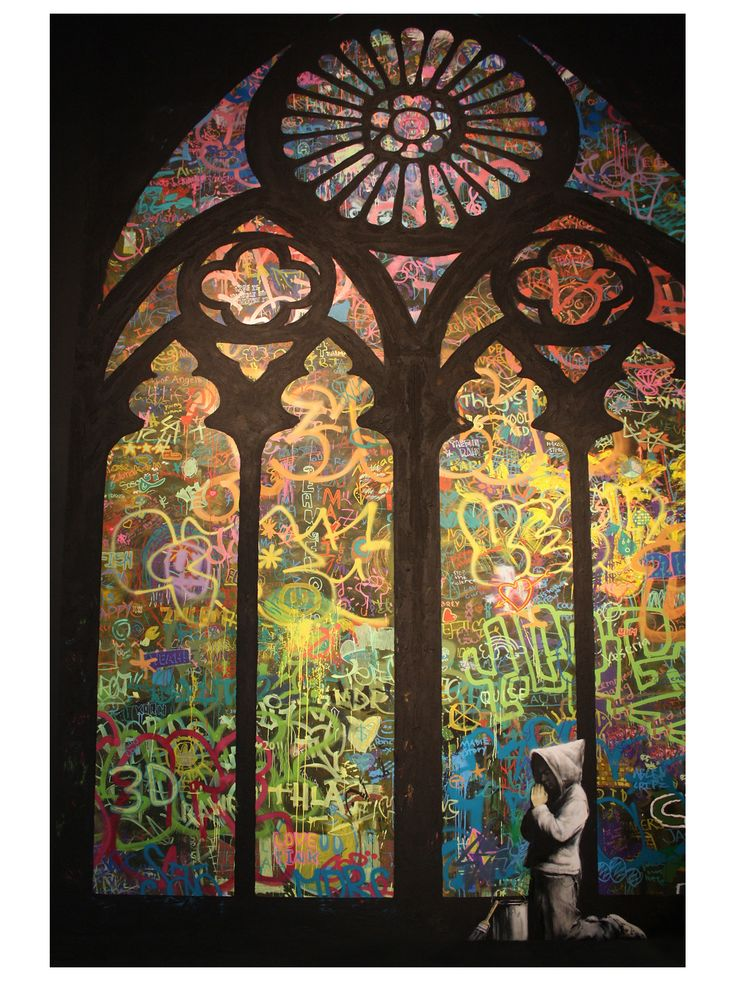 Stained Glass Window Graffiti - by Bansky