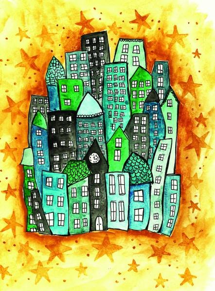 Alisa Burke — blue city 11x14 matted art print