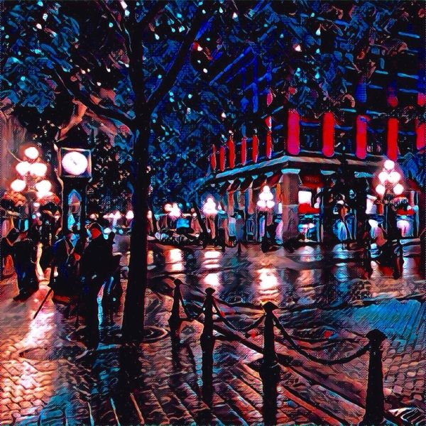 The steam clock. This #painting was made from a simple photo with a #Prisma app. #Illustration  #Art #Night #City #Vancouver #Gastown  #drawing