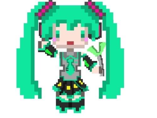 Pixel Hatsune miku drawn by me