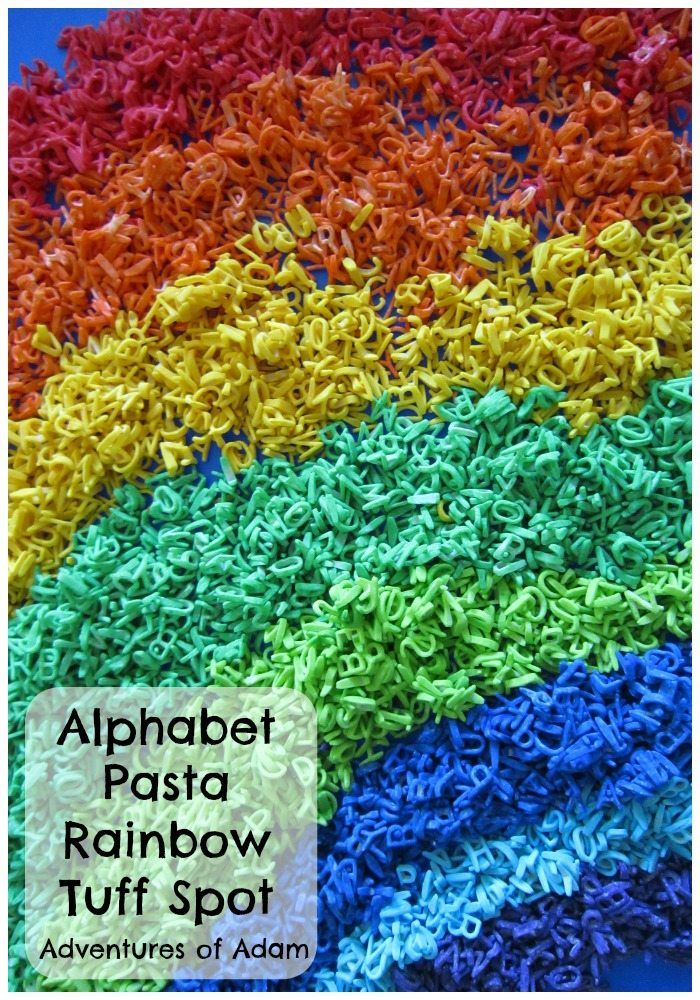 We kick off our Tuff Spot A-Z Challenge today with A is for Alphabet Pasta Rainbow Tuff Spot. For some time I have been meaning to create a sensory bin with
