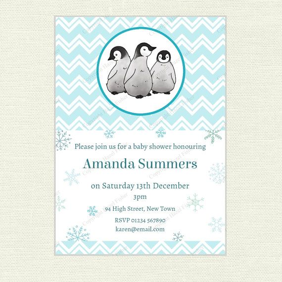 Penguin Invitation  Baby Shower or Birthday Party by hfcSupplies Winter party printable.