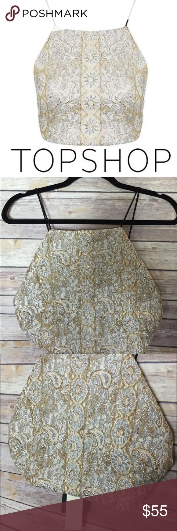 TopShop Gold Silver Crop Top Embellished Bralet ◑ Excellent Condition ◑ Ships within one day of payment.   ◑ No trades   ✿ Thank you for looking & feel free to check out my other items! ✿ Topshop Tops Crop Tops