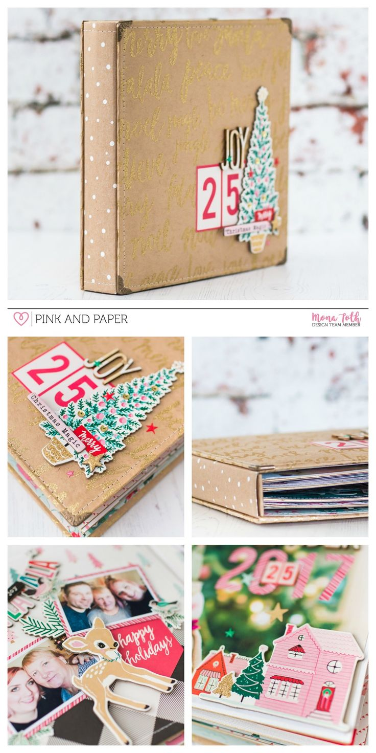 Christmas DIY photo album with Crate Paper Falala collection.