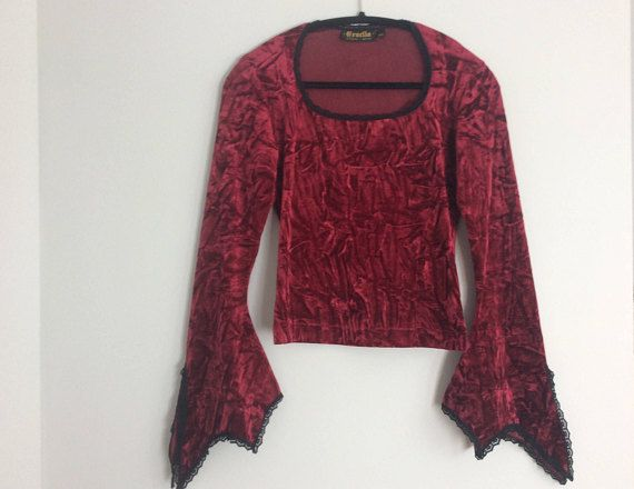 Vintage 90s Burgundy Red Crushed Velvet Bell Sleeve Top Witch