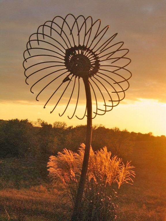 Flower sunset - made from old fan cover!