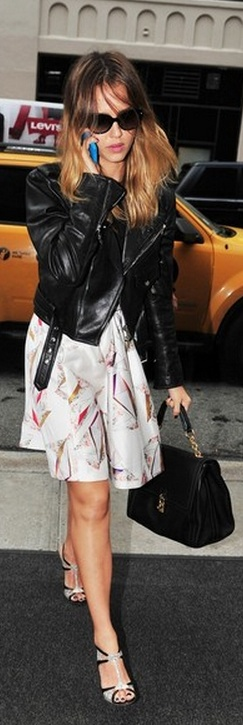 Who made  Jessica Alba's black leather jacket, sandals, and print skirt that she wore in New York?