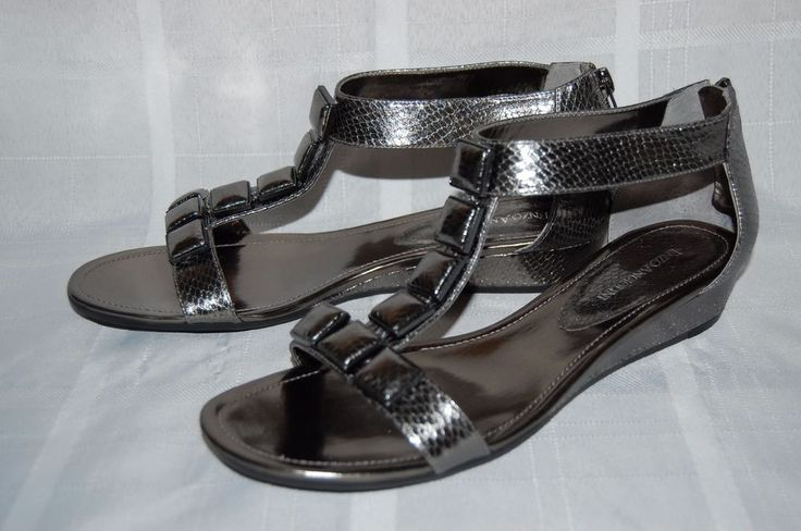 Enzo Angiolini Shoes Pewter Color Dressy Flat Sandals Summer 9.5 #EnzoAngiolini #AnkleStrap