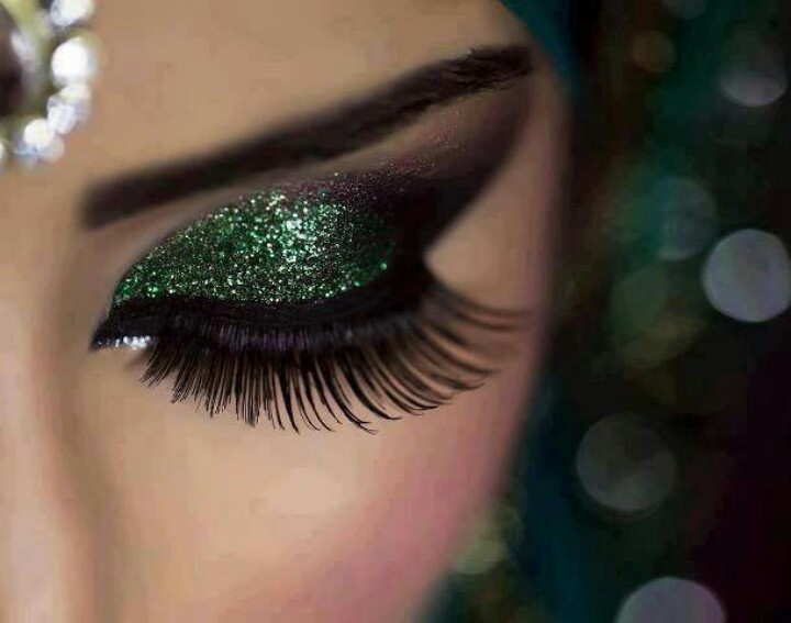 Shimmery green eye shadow