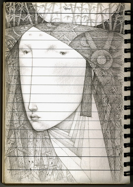 "This illustration ""The Moon Princess"" is by Japanese illustrator, Gustav Klim (note: not 'the' Gustav Klimt) via Flickr"