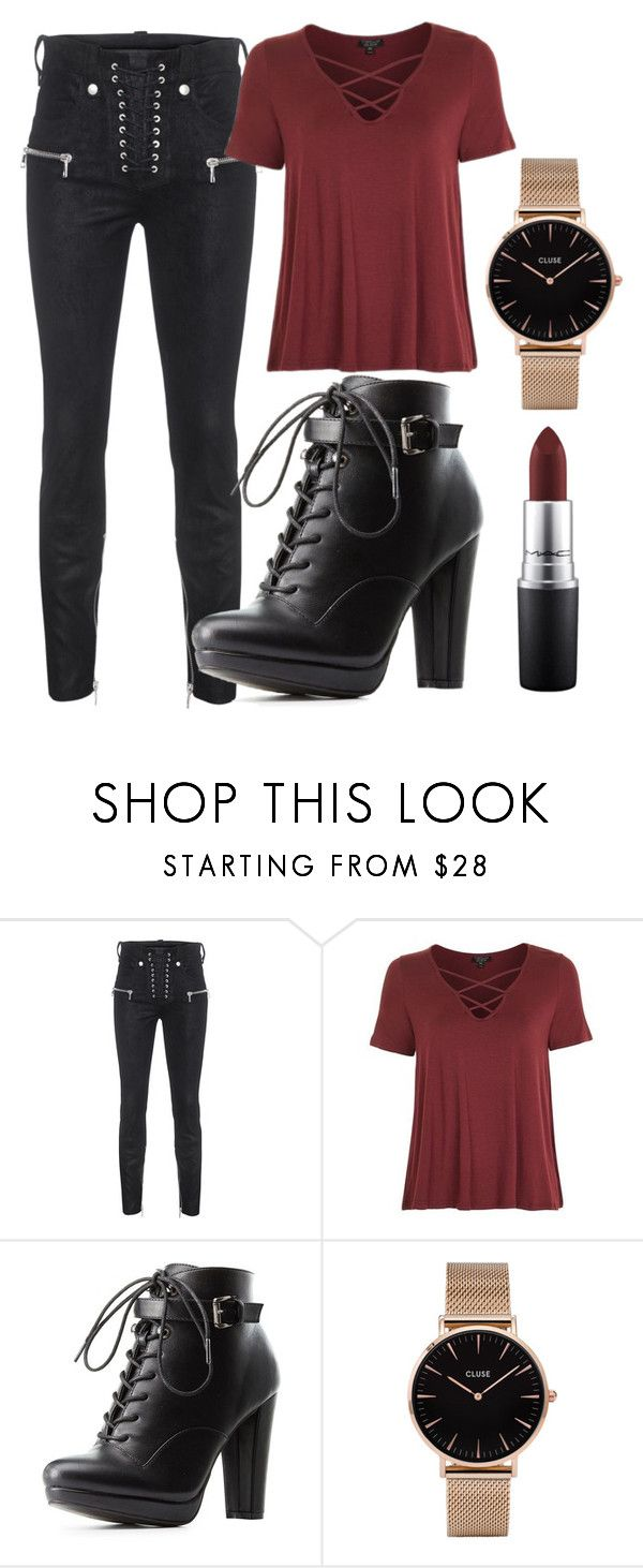 """Untitled #37"" by tovenilsen on Polyvore featuring Unravel, Topshop, Charlotte Russe, CLUSE and MAC Cosmetics"