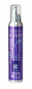 Loreal Elvive Styliste Mousse 200ml Non-Stop Volume Extra Firm Control Boost your volume and lift from the roots with non-stop volume Elvive Styliste Mousse. Enriched with Collagen - an ingredient well known for its firming properties - its smooth formula is designed to help texturize strand by strand and hold the hair from the roots to amplify the volume and offers 48 hour long lasting hold thanks to its very strong fixing power.