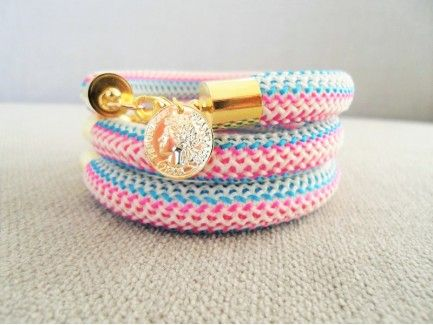 Chevron Rope Bracelet with Coin Charm