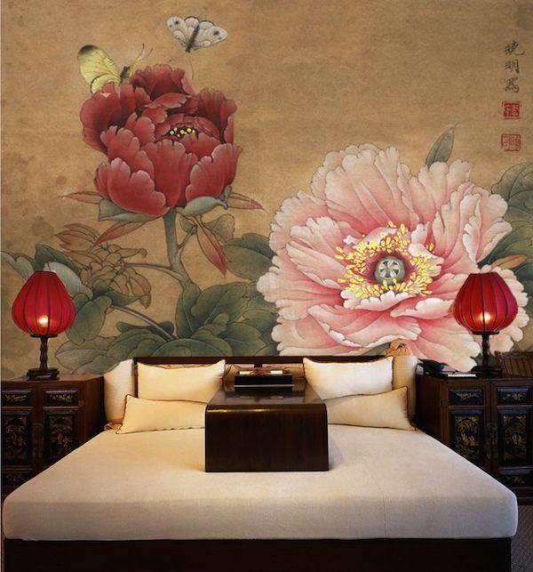 vattenfast tapeter,Anpassad tapeter ,vägg dekoration,vardagsrum dekoration,sovrum dekoration,kinesisk  retro konst,custom tapeter,Klassisk kinesisk målning,Pion,vatten resistent tapeter.