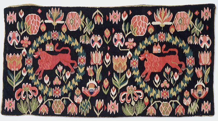 "Swedish ""flamsk"" weaving, 1800-30.  95 cm X 50 cm. Agedyna from SW Skåne in Sweden. Torna or Bara Härad. ""The red lion""."