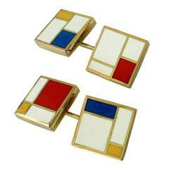 Dalben Homage to Mondrian Enamel Gold Cufflinks