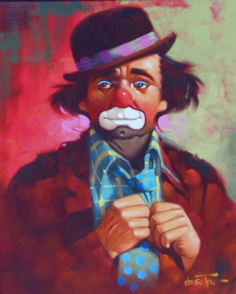 "Original Painting ""Untitled Clown"" by Chuck Oberstein"