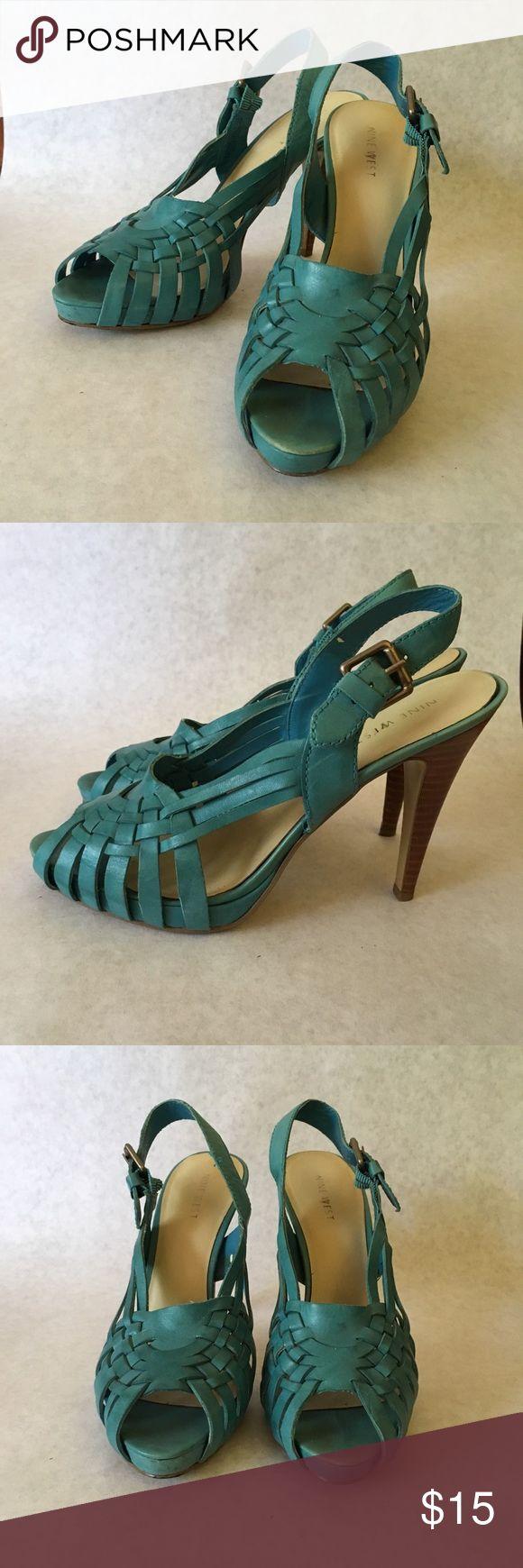 "Bluish teal sandals Bluish teal sandals with woven pattern   4-1/2"" heel, 1"" platform Nine West Shoes Sandals"