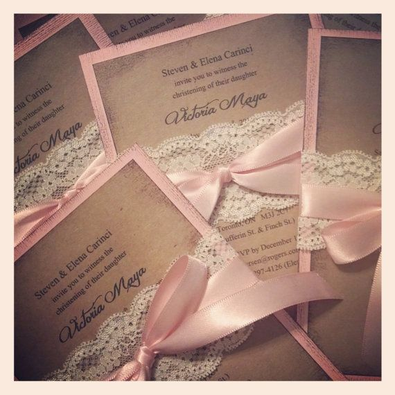 This handmade high end invitation involves several steps. It is aged and distressed, mounted on a soft pink card stock, than we have wrapped