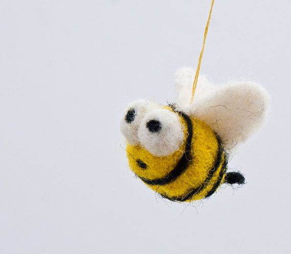 Tiny Bumble Bee Ornament Decoration Handmade Needle Felted