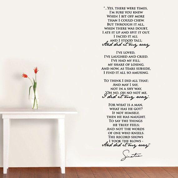 "Wall Vinyl Decal ""My Way"" part of the song lyrics by Frank Sinatra + Sinatra's vector signature"