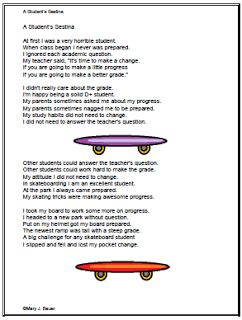 "Poetry Month: A Student Sestina   A sestina has six stanzas with six lines each and a final stanza with three lines. Each of the lines ends with one of six words.I wrote ""A Student's Sestina"" as a challenge. I found six words from a newspaper article and composed this short story about a struggling student who would rather ride a skateboard than study.To download a free printable copy of ""A Student's Sestina"" please visit this post at Artistry of Education.  Mary Bauer Poetry reading writing"