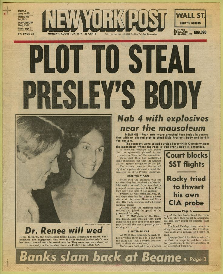 newspaper headline ('plot to steal presley's body,' the new york post, august 29, 1977) the new york post, october 25, 1977) - newspaper clipping from the warhol archives, 1977 [link to 'warhol: headines' exhibition + archives, http://www.warhol.org/exhibitions/2012/headlines/archives.php]