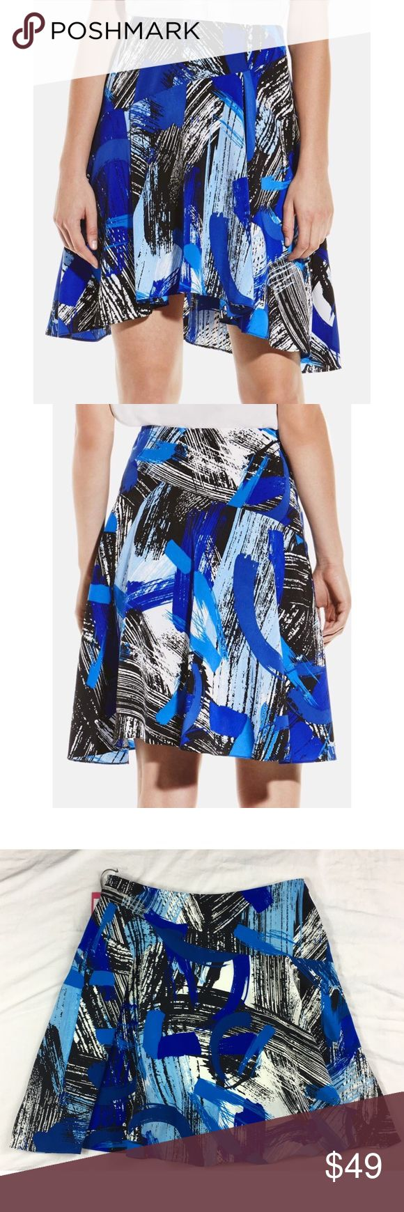 Vince Camuto skirt Bold Brushstokes flounce Vince Camuto skirt Bold Brushstokes asymmetrical flounce hidden side zip lined Original retail price $99 Women's Size:  10 Approx measurement: waist - 33 inches; length - 19-23 1/4 inches Fabric content: shell: 100% polyester; lining: 100% polyester Machine washable New with tags - see pictures Vince Camuto Skirts Asymmetrical