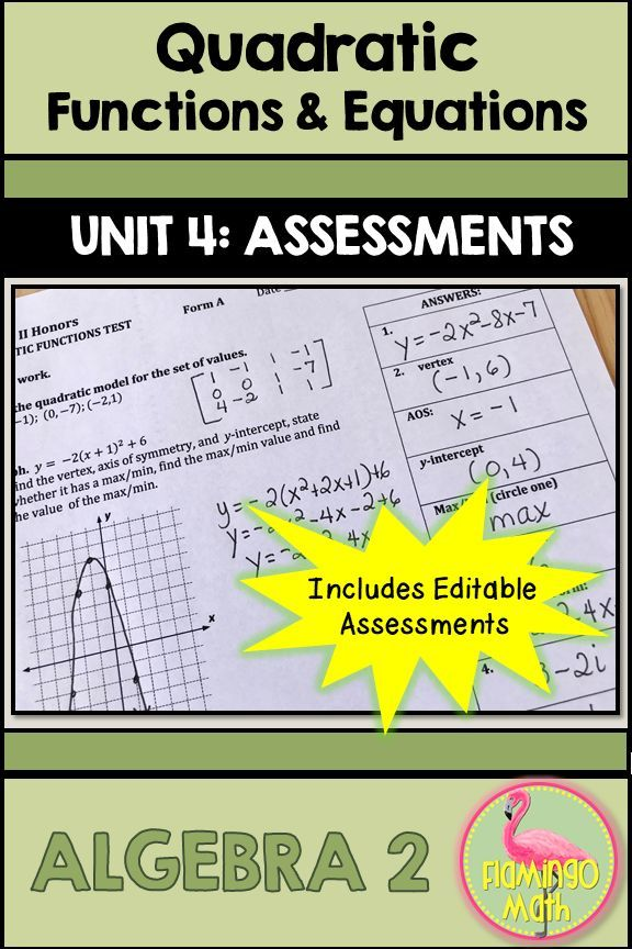 Quadratic Functions and Equations Assessments (Algebra 2 - Unit 4