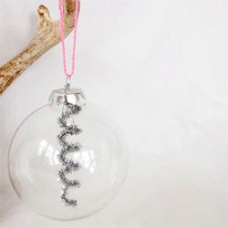 A simple and beautiful way to dress up clear glass ornaments.