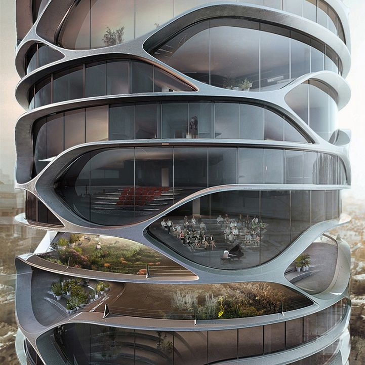 French architect David Tajchman recently released a visionary design for a skyscraper to be built in Tel Aviv, Israel. His conceptual model for the Gran Me
