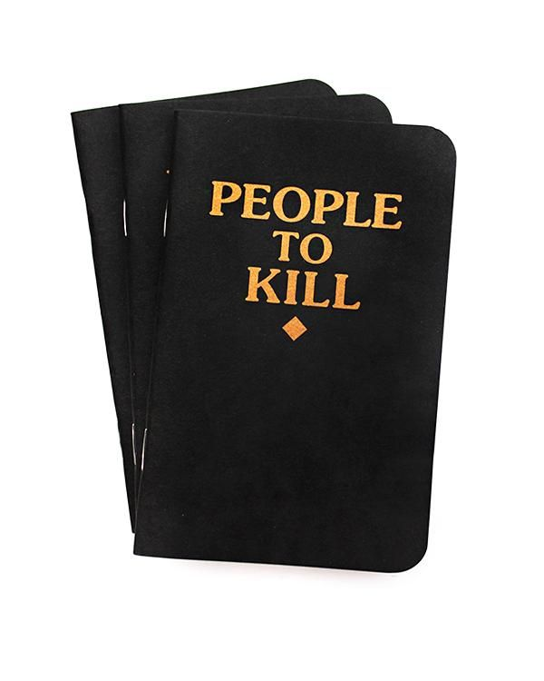 """Make your list! But keep it hidden. The perfect tongue-in-cheek item for the curmudgeonin your life, now in pocket-size.3-pack of memo books40 lined pagesGold-stamped foil designMeasurements: 5.5"""" x3.5""""Made in the USAColor: Black+ GoldByViolent Little Machine Shop"""