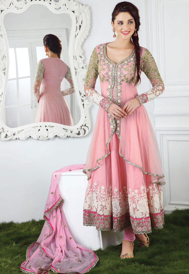#Pink Net Anarkali #ChuridarKameez
