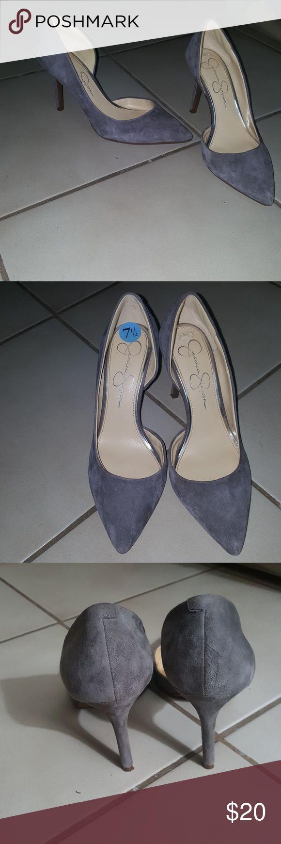 Jessica Simpson grey heels Jessica Simpson grey 3 inch heels Jessica Simpson Shoes Heels