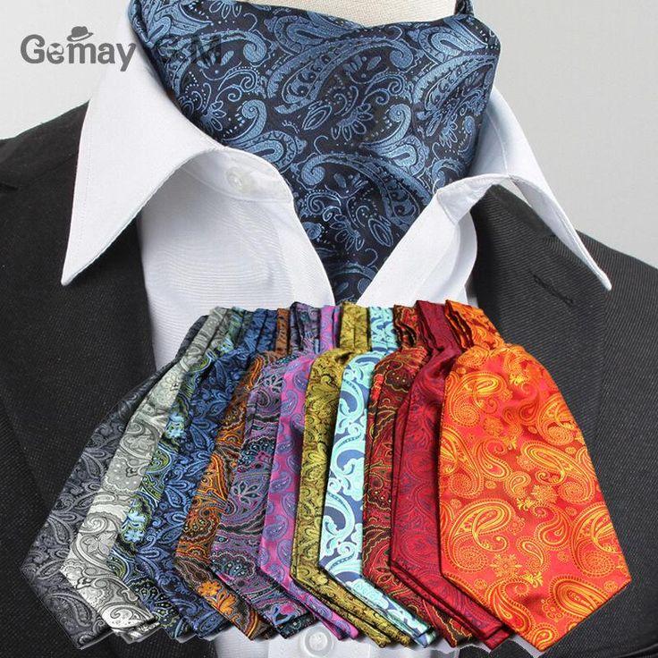 Mannen Vintage Stip Bruiloft Formele Das Ascot Scrunch Self Britse stijl Gentleman Polyester Zijden Sjaals Das Luxe