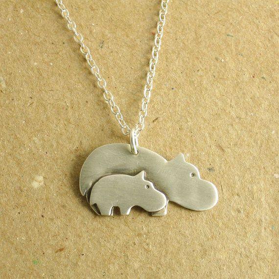 Silver Yellow Plated Hippopotamus Pendant 19mm