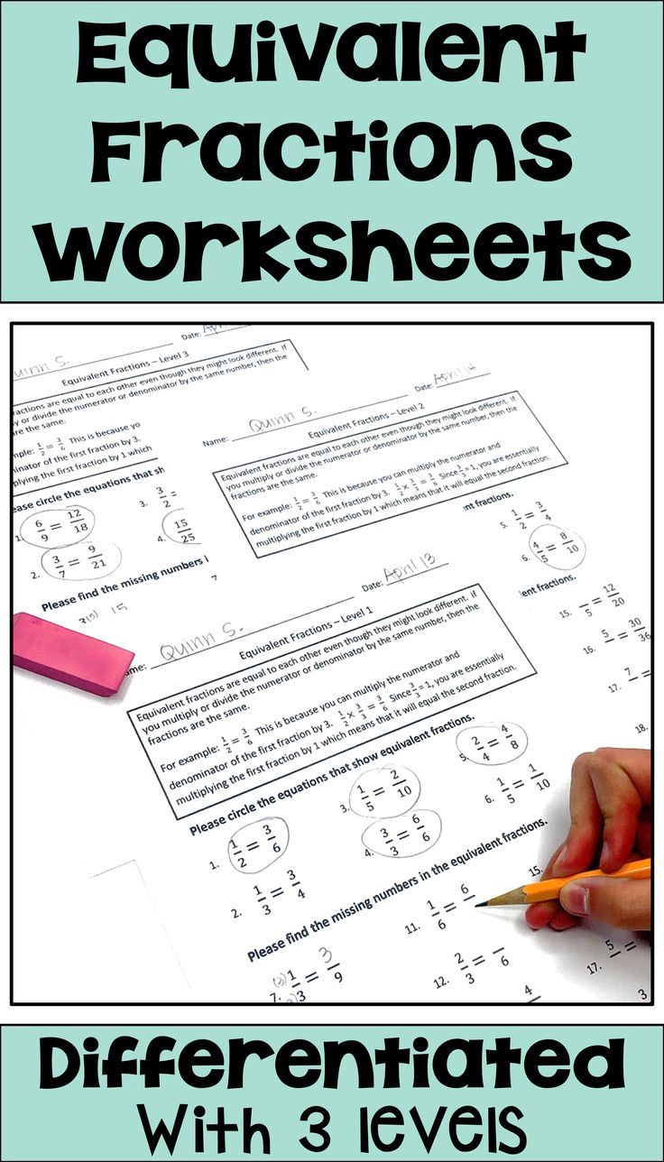 Equivalent Fraction Worksheets for Math Centers [ 1288 x 736 Pixel ]